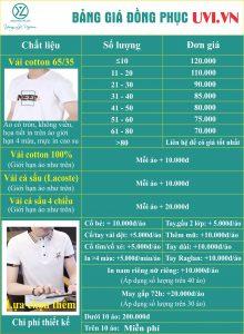 Bảng giá in áo đồng phục